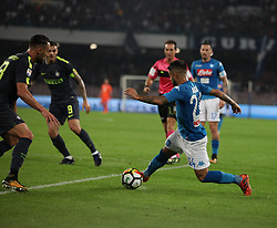 October 21, 2017 - Naples, Campania/Napoli, Italy - Italy- Naples October 21, 2017 A-Serie A football match at the San Paolo Stadium between Naples and Inter..That night they met the first two teams of high class Napoli who is in first place and Inter at second..Already the soccer experts speak of scudetto racing in Italy.Naples..Naples: Insigne.Inter: Candreva (Credit Image: © Fabio Sasso/Pacific Press via ZUMA Wire)