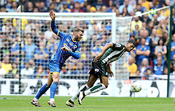 Jake Jervis of Plymouth Argyle battles for the ball with Callum Kennedy of AFC Wimbledon - Mandatory by-line: Robbie Stephenson/JMP - 30/05/2016 - FOOTBALL - Wembley Stadium - London, England - AFC Wimbledon v Plymouth Argyle - Sky Bet League Two Play-off Final