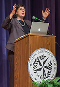 Sonia Nazario comments during a presentation to students at Chavez High School, September 26, 2014.