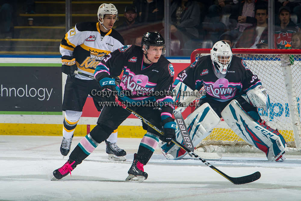 KELOWNA, CANADA - NOVEMBER 3: Roman Basran #30 defends the net as Dalton Gally #3 of the Kelowna Rockets looks for the pass during first period against the Brandon Wheat Kings  on November 3, 2018 at Prospera Place in Kelowna, British Columbia, Canada.  (Photo by Marissa Baecker/Shoot the Breeze)