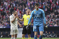 February 9, 2019 - Madrid, Madrid, Spain - Carvajal of Real Madrid iprotest to referee during La Liga Spanish championship, , football match between Atletico de Madrid and Real Madrid, February 09th, in Wanda Metropolitano Stadium in Madrid, Spain. (Credit Image: © AFP7 via ZUMA Wire)