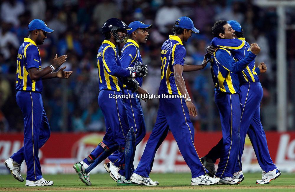 02.04.2011 Cricket World Cup Final from the Wankhede Stadium in Mumbai. Sri Lanka v India. Tillakaratne Dilshan of Sri Lanka celebrates the wicket of Virat Kohli during the final match of the ICC Cricket World Cup between India and Sri Lanka on the 2nd April 2011