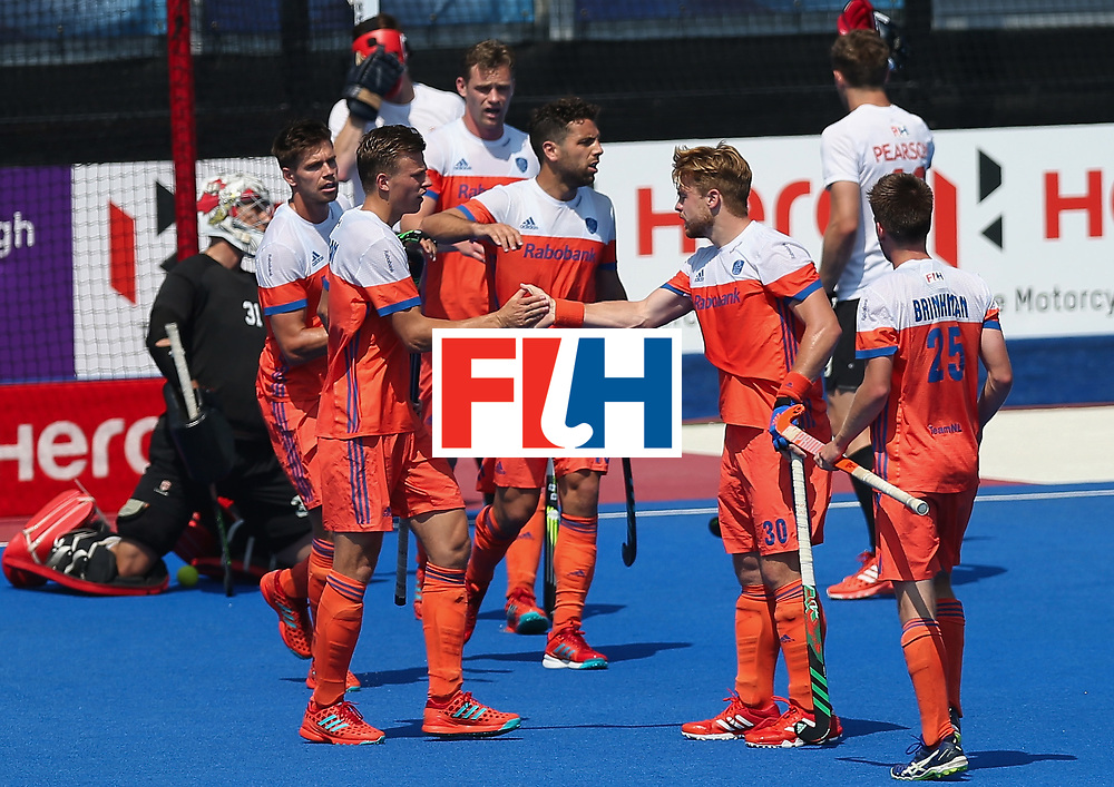 LONDON, ENGLAND - JUNE 19: Mink van der Weerden of the Netherlands celebrates scoring his sides first goal with teammates during the Hero Hockey World League Semi-Final match between Netherlands and Canada at Lee Valley Hockey and Tennis Centre on June 19, 2017 in London, England. (Photo by Alex Morton/Getty Images)