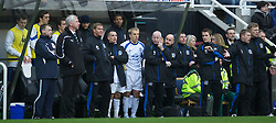 NEWCASTLE, ENGLAND - Saturday, March 5, 2011: Everton's captain Phil Neville and Leon Osman watch from the bench during the Premiership match against Newcastle United at St. James' Park. (Photo by David Rawcliffe/Propaganda)