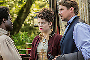 """David Kenny as Clyde, Jessica de Gout as Elizabeth Hawkes and Marc Blucas as John Hawkes meet in WGN America's """"Underground."""""""