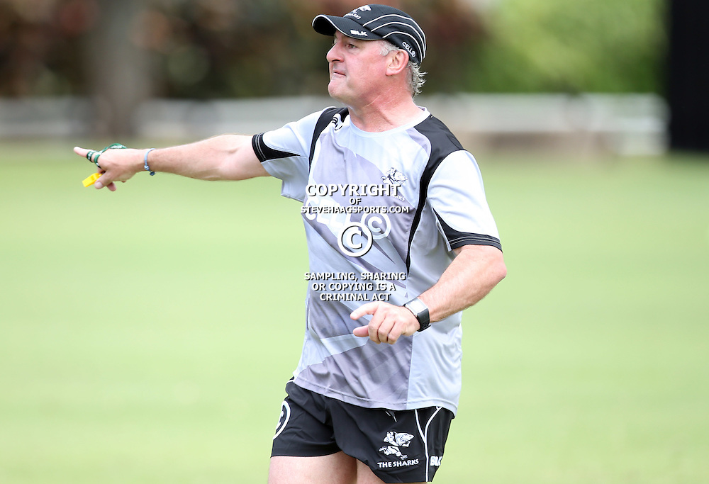 DURBAN, SOUTH AFRICA - FEBRUARY 17: Gary Gold (Sharks Director of Rugby) during the Cell C Sharks training session at Growthpoint Kings Park on February 17, 2015 in Durban, South Africa. (Photo by Steve Haag/)