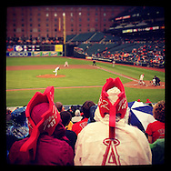 An Instagram of Mike Trout fans watching him bat at Camden Yards in Baltimore, Maryland.