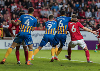 Football - 2017 / 2018 Sky Bet EFL League One - Play-Off Semi-Final, First Leg: Charlton Athletic vs. Shrewsbury Town<br /> <br /> Charlton Athletic are denied a penalty as the referee fails to see Omar Beckles (Shrewsbury Town FC) has Jason Pearce (Charlton Athletic FC) in a head lck as the ball comes in at The Valley<br /> <br /> COLORSPORT/DANIEL BEARHAM
