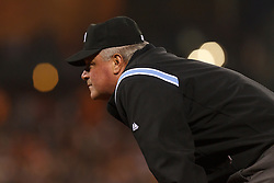 July 8, 2011; San Francisco, CA, USA;  MLB umpire Tim Welke (3) stands behind first base during the sixth inning between the San Francisco Giants and the New York Mets at AT&T Park. New York defeated San Francisco 5-2.