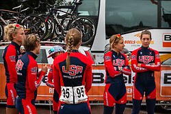 Riders of the National Team USA waiting for the sign-on at the Holland Ladies Tour, Zeddam, Gelderland, The Netherlands, 1 September 2015.<br /> Photo: Pim Nijland / PelotonPhotos.com