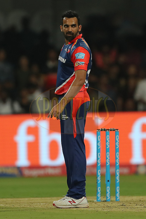 Delhi Daredevil captain Zaheer Khan reacts after taking the wicket of Stuart Binny of the Royal Challengers Bangalore during match 5 of the Vivo 2017 Indian Premier League between the Royal Challengers Bangalore and the Delhi Daredevils held at the M.Chinnaswamy Stadium in Bangalore, India on the 8th April 2017<br /> <br /> Photo by Ron Gaunt - IPL - Sportzpics