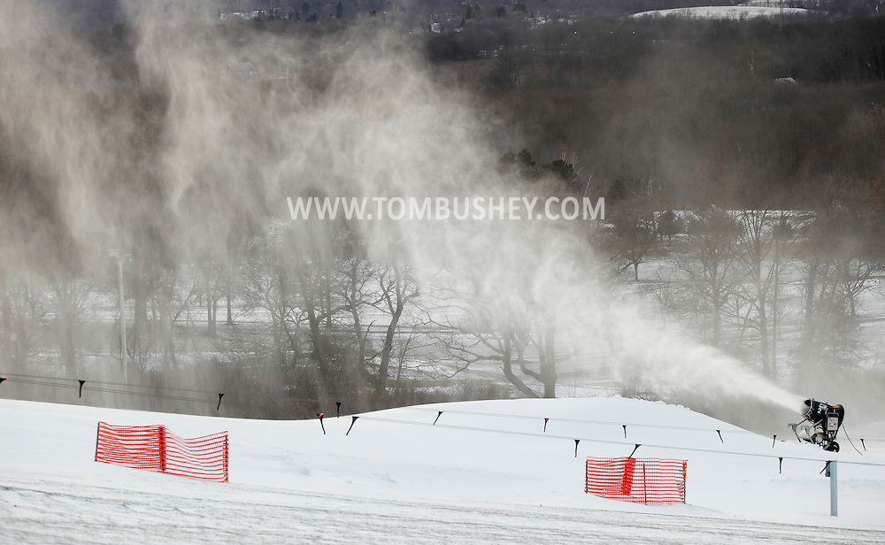 Hamptonburgh, New York - A snow-making machine blows snow onto the snow-tubing hill at Thomas Bull Memorial Park on Dec. 14, 2010.