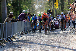 The breakaway climb Taaienberg during the 2019 E3 Harelbeke Binck Bank Classic 2019 running 203.9km from Harelbeke to Harelbeke, Belgium. 29th March 2019.<br /> Picture: Eoin Clarke | Cyclefile<br /> <br /> All photos usage must carry mandatory copyright credit (© Cyclefile | Eoin Clarke)