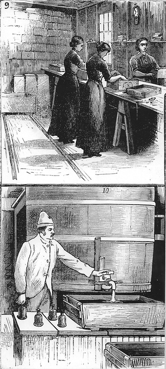 Nobel Explosives Company Limited, Ardeer, Ayrshire. 9: Women packing Dynamite cartridges into boxes.  10: Nitroglycerine washing house. From 'The Illustrated London News', 16 April 1884