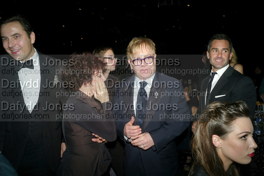 DAVID WALLIAMS; RUBY WAX; SIR ELTON JOHN, Grey Goose Winter Ball to Benefit the Elton John AIDS Foundation. Battersea park. London. 29 October 2011. <br /> <br />  , -DO NOT ARCHIVE-© Copyright Photograph by Dafydd Jones. 248 Clapham Rd. London SW9 0PZ. Tel 0207 820 0771. www.dafjones.com.