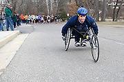 Disabled participant, Terry Wines, initiates the start of the 2009 5K Frostbite Run held at Ohio University Saturday February 21, 2009.