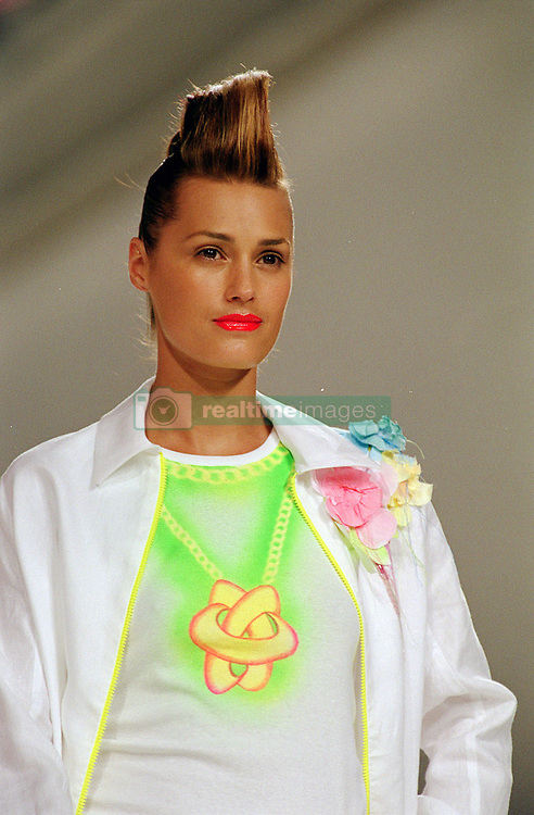 Model Yasmin Le Bon wearing a creation by designer Matthew Williamson in Brick Lane during London Fashion Week.