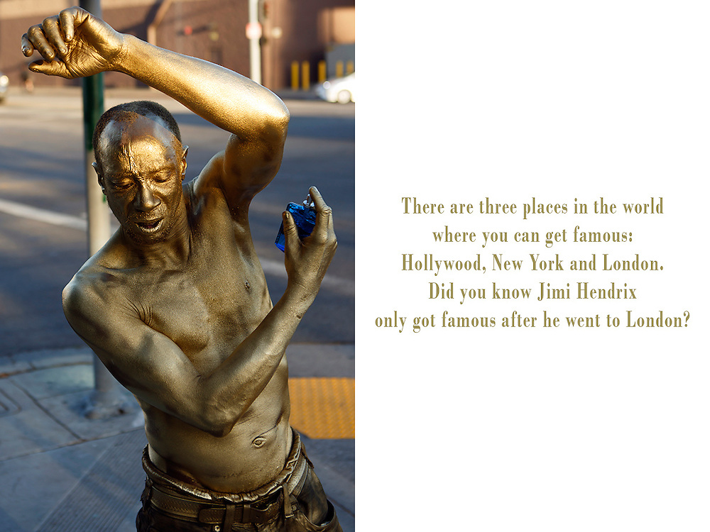 Gregory is a 49 year old living statue, spraypainted in gold, living and performing on Hollywood Boulevard. Originally from Philadelphia he wandered through the states and claims he just arrived from San Diego. According to Spiderman though, another street performer, he has been on Hollywood Boulevard for as long as he can remember. Gregory dreams of becoming famous and one day travel the world. Photo: Gregory sprays himself with a perfume called Polar Azul, before getting ready for his act in front of the Chinese Theatre. COPYRIGHT JURRIAAN BROBBEL