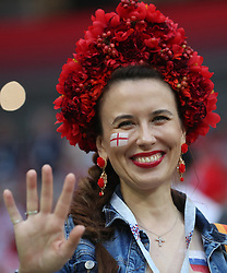 MOSCOW, July 11, 2018  A fan is seen prior to the 2018 FIFA World Cup semi-final match between England and Croatia in Moscow, Russia, July 11, 2018. (Credit Image: © Cao Can/Xinhua via ZUMA Wire)