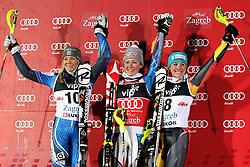 04.01.2013, Crveni Spust, Zagreb, AUT, FIS Ski Alpin Weltcup, Slalom, Damen, Podium, im Bild v.l.n.r. Frida Hansdotter (SWE, Platz 2), Mikaela Shiffrin (USA, Platz 1) und Erin Mielzynski (CAN, Platz 3) jubeln // f.l.t.r. 2nd place Frida Hansdotter of Sweden, 1st place Mikaela Shiffrin of the USA and 3th place Erin Mielzynski of Canada celebrate on podium of the ladies Slalom of the FIS ski alpine world cup at Crveni Spust course in Zagreb, Croatia on 2013/01/04. EXPA Pictures © 2013, PhotoCredit: EXPA/ Pixsell/ Marko Prpic..***** ATTENTION - for AUT, SLO, SUI, ITA, FRA only *****