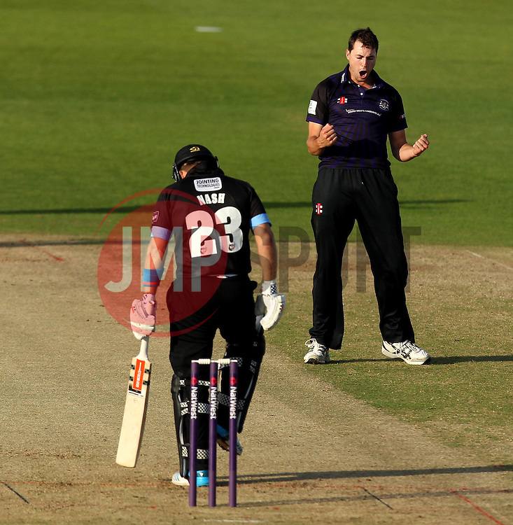 Gloucestershire's James Fuller celebrates the wicket of Sussex's Chris Nash - Photo mandatory by-line: Robbie Stephenson/JMP - Mobile: 07966 386802 - 26/06/2015 - SPORT - Cricket - Bristol - The County Ground - Gloucestershire v Sussex - Natwest T20 Blast