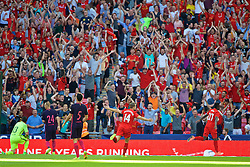 LONDON, ENGLAND - Saturday, August 6, 2016: Liverpool's Divock Origi celebrates scoring the third goal against Barcelona during the International Champions Cup match at Wembley Stadium. (Pic by Xiaoxuan Lin/Propaganda)