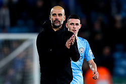 Manchester City manager Pep Guardiola and Phil Foden of Manchester City - Mandatory by-line: Robbie Stephenson/JMP - 18/12/2018 - FOOTBALL - King Power Stadium - Leicester, England - Leicester City v Manchester City - Carabao Cup Quarter Finals