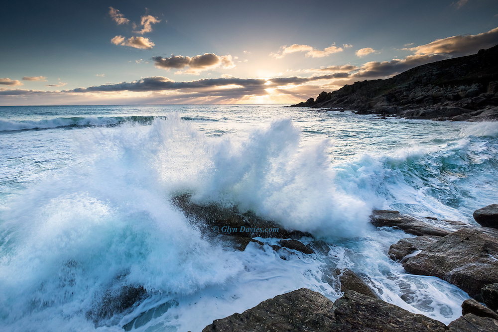 Powerful waves slammed against the cliffs at Porth Chapel as set after set came rolling in. It's hard to convey the size of these waves without human scale, but imagine 3 adults standing on top of each other on that wave smashed rock, and it gives you some idea!