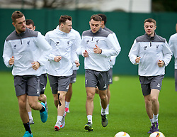 LIVERPOOL, ENGLAND - Wednesday, December 9, 2015: Liverpool's Brad Smith, Connor Randall and Jordan Rossiter during a training session at Melwood Training Ground ahead of the UEFA Europa League Group Stage Group B match against FC Sion. (Pic by David Rawcliffe/Propaganda)