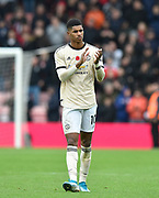 Marcus Rashford (10) of Manchester United applauds the travelling fans at full time after a 1-0 defeat during the Premier League match between Bournemouth and Manchester United at the Vitality Stadium, Bournemouth, England on 2 November 2019.