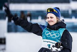 February 13, 2018 - Stockholm, Sweden - OS 2018 i Pyeongchang. Sprint, damer. Stina Nilsson, längdskidÃ¥kare Sverige, vann. tävling action landslaget guld  glad grÃ¥ter (Credit Image: © Orre Pontus/Aftonbladet/IBL via ZUMA Wire)