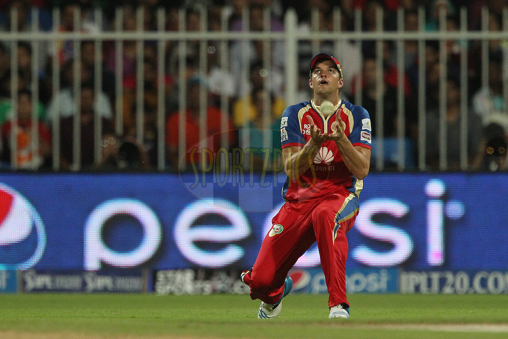 Albie Morkel takes the catch to dismiss RanganathVinay Kumar of the Kolkata Knight Riders during match 11 of the Pepsi Indian Premier League 2014 between the The Royal Challengers Bangalore and the Kolkata Knight Riders  held at the Sharjah Cricket Stadium, Sharjah, United Arab Emirates on the 24th April 2014<br /> <br /> Photo by Ron Gaunt / IPL / SPORTZPICS