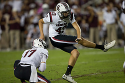 South Carolina place kicker Parker White (43) boots a ball through the uprights for a field goal against Texas A&M during an NCAA college football game Saturday, Sept. 30, 2017, in College Station, Texas. (AP Photo/Sam Craft)