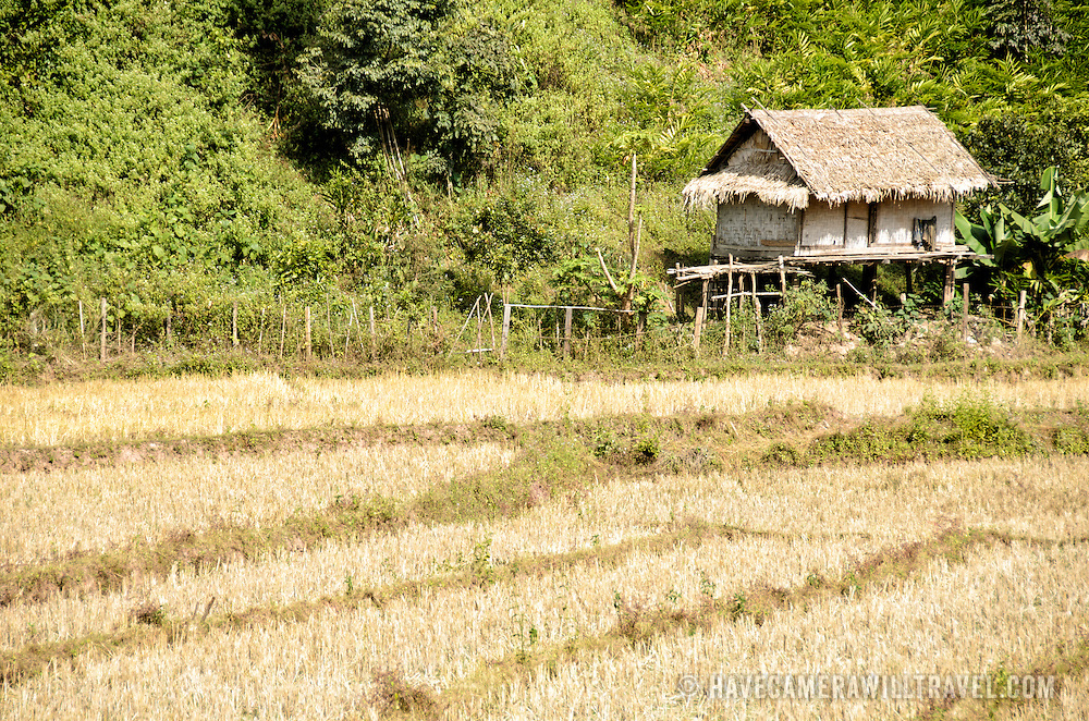 A bamboo hut that servers as shelter for wet rice farmers as they tend the fields and harvest the crops in Luang Namtha province in northern Laos.