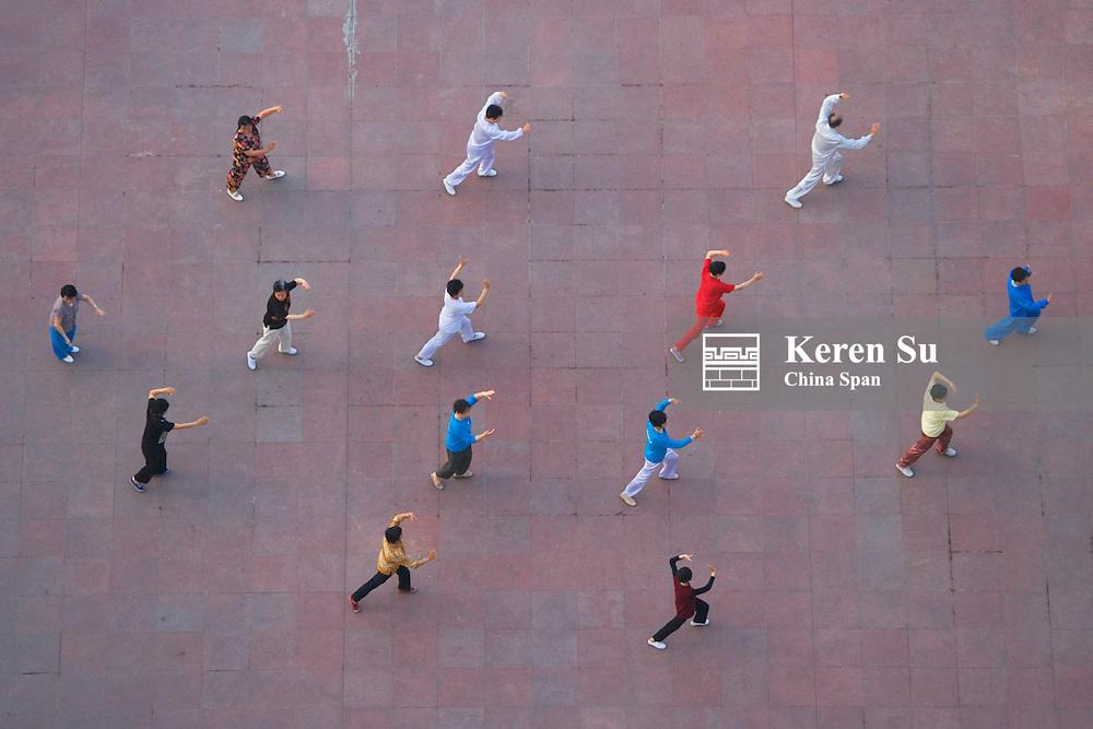 People practicing Taiji, Fengjie, Sichuan, China