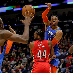 Dec 12, 2018; New Orleans, LA, USA; Oklahoma City Thunder guard Russell Westbrook (0) passes to forward Jerami Grant (9) as New Orleans Pelicans forward Solomon Hill (44) and forward Cheick Diallo (13) during the second quarter at the Smoothie King Center. Mandatory Credit: Derick E. Hingle-USA TODAY Sports