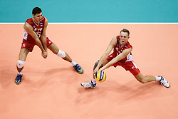 07.09.2014, Ergo Arena, Danzig, POL, FIVB WM, Russland vs Bulgarien, Gruppe C, im Bild dmitriy llinykh, alexey spiridonov spiridonow // during the FIVB Volleyball Men's World Championships Pool C Match beween Russia and Bulgaria at the Ergo Arena in Danzig, Poland on 2014/09/07.<br /> <br /> ***NETHERLANDS ONLY***