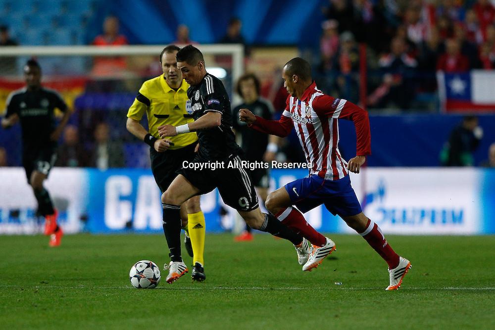 22.04.2014. Madrid, Spain. UEFA Champions League semi-final. Atletico de Madrid versus Chelsea C.F. at Vicente Calderon stadium.  Fernando Torres of Chelsea