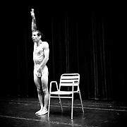 Portuguese performer and choreographer Pedro Pires, prepares for his everyday practicing at Macedo de Cavaleiros Cultural Center.
