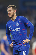 Chelsea midfielder Eden Hazard (10) during the Europa League quarter-final, leg 2 of 2 match between Chelsea and Slavia Prague at Stamford Bridge, London, England on 18 April 2019.
