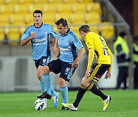 Sydney FC's Alessandro del Piero, left, plays in front of Wellington Phoenix's Alex Smith in the A-League football match at Westpac Stadium, Wellington, New Zealand, Saturday, October 06, 2012. Credit:SNPA / Ross Setford
