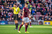 Aaron Hickey (#51) of Heart of Midlothian FC during the Ladbrokes Scottish Premiership match between Heart of Midlothian and Rangers FC at Tynecastle Park, Edinburgh, Scotland on 20 October 2019.