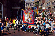 South Kirkby Branch NUM banner on the Yorkshire miners 100th gala, Barnsley. 20-06-1987.