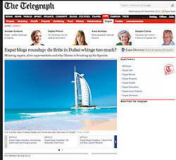 The Telegraph; Beach and Burj Arab Hotel, Dubai