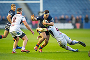 Stuart McInally (#2) of Edinburgh Rugby attempts to break though between Rob Herring (#2) and Iain Henderson (#4) of Ulster Rugby during the Guinness Pro 14 2018_19 match between Edinburgh Rugby and Ulster Rugby at the BT Murrayfield Stadium, Edinburgh, Scotland on 12 April 2019.
