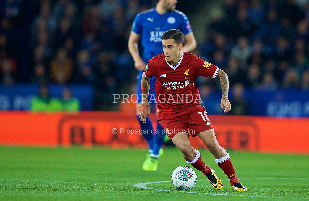 LEICESTER, ENGLAND - Tuesday, September 19, 2017: Liverpool's Philippe Coutinho Correia during the Football League Cup 3rd Round match between Leicester City and Liverpool at the King Power Stadium. (Pic by David Rawcliffe/Propaganda)