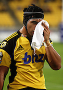 Victor Vito goes to the bloodbin.<br /> Super 14 rugby match - Hurricanes v Sharks at Westpac Stadium, Wellington. Saturday, 27 March 2010. Photo:Erin Collier/PHOTOSPORT