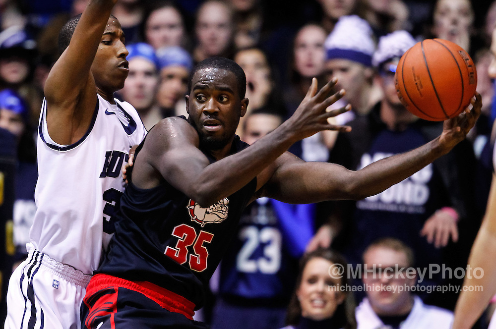 INDIANAPOLIS, IN - JANUARY 19: Kameron Woods #31 of the Butler Bulldogs guards Sam Dower #35 of the Gonzaga Bulldogs at Hinkle Fieldhouse on January 19, 2013 in Indianapolis, Indiana. (Photo by Michael Hickey/Getty Images) *** Local Caption *** Kameron Woods; Sam Dower