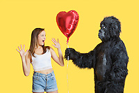 Young man dressed in gorilla costume gifting heart shaped balloon to surprised woman