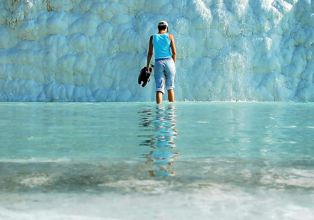 Girl in the water in Pamakule Turkey